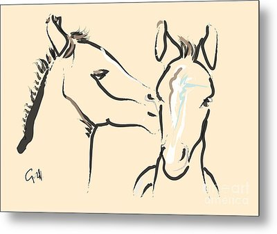Horse-foals-together 6 Metal Print by Go Van Kampen