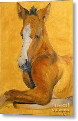 Metal Print featuring the painting horse - Gogh by Go Van Kampen