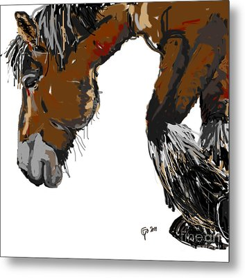 Metal Print featuring the painting horse - Guus by Go Van Kampen