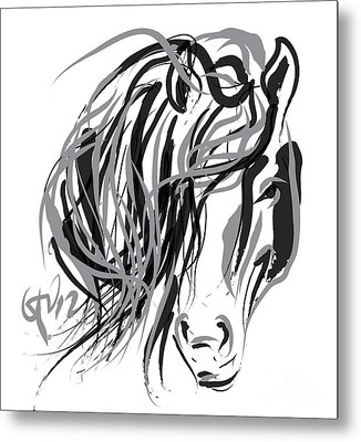 Horse- Hair And Horse Metal Print by Go Van Kampen
