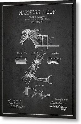 Horse Harness Loop Patent From 1885 - Dark Metal Print by Aged Pixel