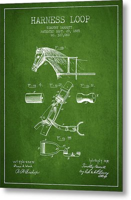 Horse Harness Loop Patent From 1885 - Green Metal Print by Aged Pixel
