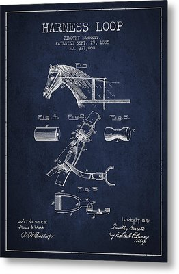 Horse Harness Loop Patent From 1885 - Navy Blue Metal Print by Aged Pixel