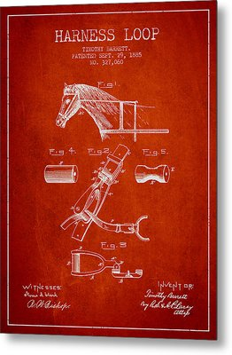 Horse Harness Loop Patent From 1885 - Red Metal Print by Aged Pixel