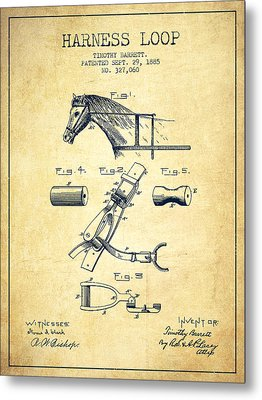 Horse Harness Loop Patent From 1885 - Vintage Metal Print by Aged Pixel