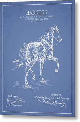 Horse Harness Patent From 1885 - Light Blue Metal Print by Aged Pixel