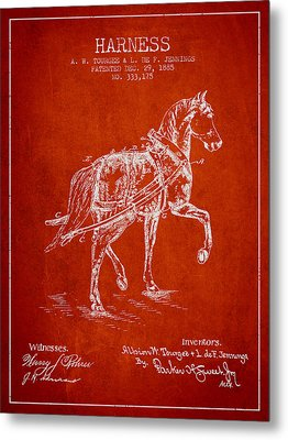 Horse Harness Patent From 1885 - Red Metal Print by Aged Pixel