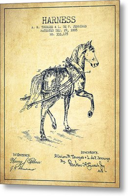 Horse Harness Patent From 1885 - Vintage Metal Print by Aged Pixel