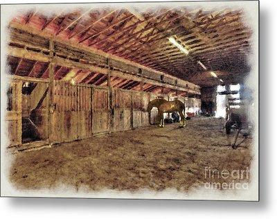 Horse In Barn Metal Print by Dan Friend