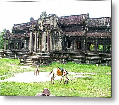Horse In Front Of Outer Building In Angkor Wat In Angkin Angkor Wat Archeological Park-cambodia Metal Print by Ruth Hager