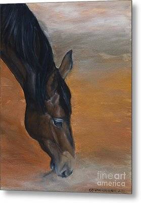 Metal Print featuring the painting horse - Lily by Go Van Kampen