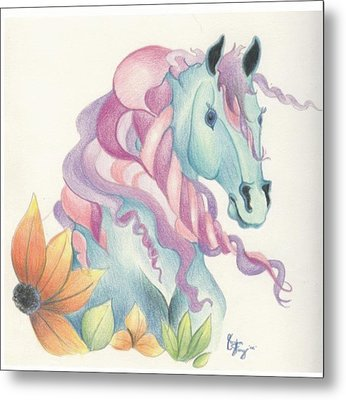 Horse Of A Different Colour Metal Print by Kirsten Slaney