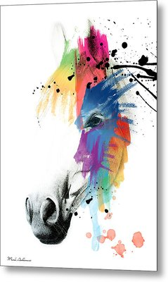Horse On Abstract   Metal Print