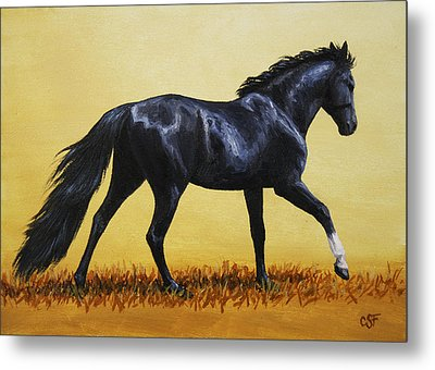 Horse Painting - Black Beauty Metal Print