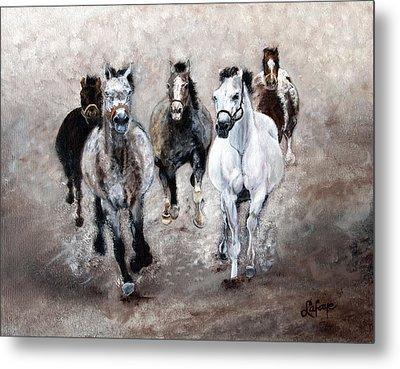 Horse Paintings Horse Art Equine Art Storm's Comin' Metal Print by Robert Lafaye