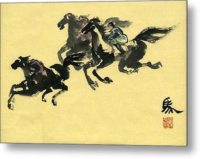 Metal Print featuring the painting Horse  by Ping Yan