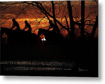 Horse Racing At Sun Downs - Featured In Comfortable Art And Nature Wildlife Groups Metal Print by EricaMaxine  Price
