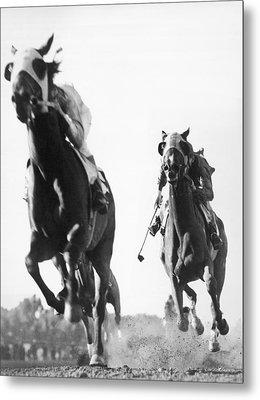 Horse Racing At Tanforan Track Metal Print