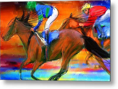 Horse Racing II Metal Print by Lourry Legarde