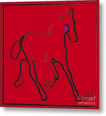 horse - Red filly Metal Print by Go Van Kampen