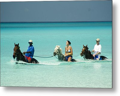 Horse Riders In The Surf Metal Print by David Smith