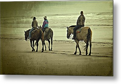 Metal Print featuring the photograph Horseback Riding On The Beach by Thom Zehrfeld