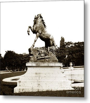 Metal Print featuring the photograph Horse Sculpture Trocadero  Paris France 1900 Historical Photos by California Views Mr Pat Hathaway Archives