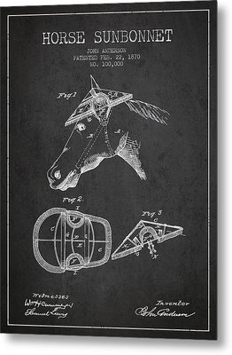 Horse Sunbonnet Patent From 1870 - Charcoal Metal Print by Aged Pixel