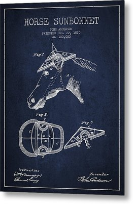 Horse Sunbonnet Patent From 1870 - Navy Blue Metal Print by Aged Pixel
