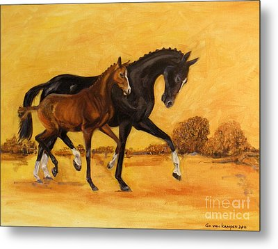 Horse - Together 2 Metal Print by Go Van Kampen