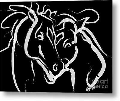 Horse- Together 5 Metal Print by Go Van Kampen