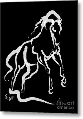 Horse White Runner Metal Print by Go Van Kampen