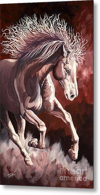 Horse Wild Fire Metal Print by Tish Wynne