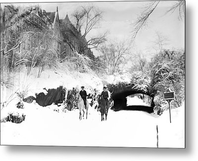 Horseback Riding - Central Park - Vintage Metal Print by Bill Cannon