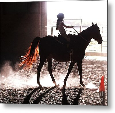 Horseback Riding Lessons Metal Print by Ronnie Glover