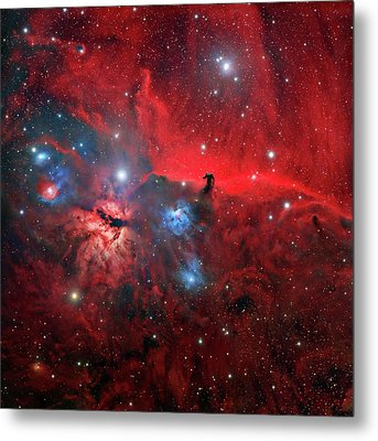 Horsehead And Flame Nebulae Metal Print by Tony & Daphne Hallas