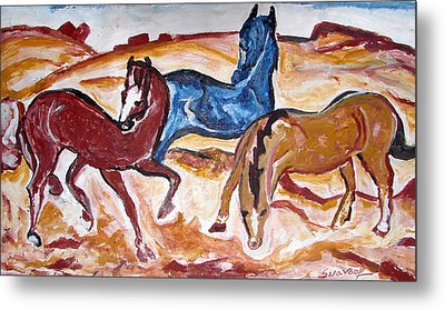 Metal Print featuring the painting Horses 3 by Anand Swaroop Manchiraju