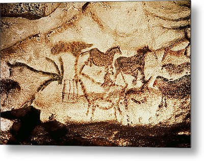 Horses And Deer From The Caves At Altamira, 15000 Bc Cave Painting Metal Print by Prehistoric