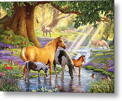Horses By The Stream Metal Print