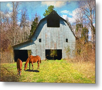 Horses Call This Old Barn Home Metal Print by Sandi OReilly