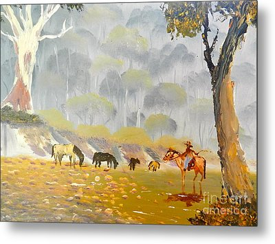 Horses Drinking In The Early Morning Mist Metal Print
