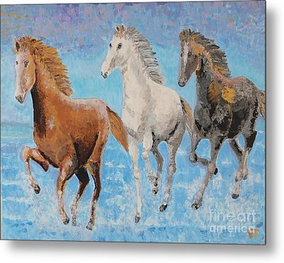 Horses From Troy Metal Print by Vicky Tarcau
