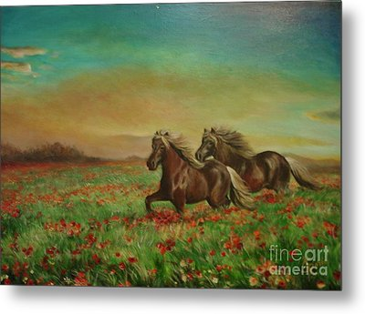 Metal Print featuring the painting Horses In The Field With Poppies by Sorin Apostolescu