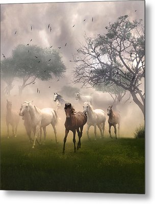 Horses In The Mist Metal Print by Nina Bradica