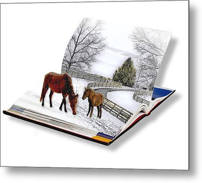 Horses In The Snow Metal Print by Trudy Wilkerson