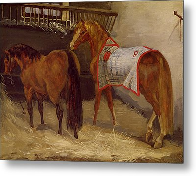 Horses In The Stables  Metal Print by Theodore Gericault