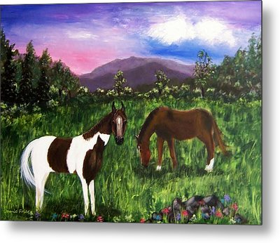 Metal Print featuring the painting Horses by Jamie Frier