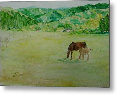 Horses Mare Foal Pastures Rural Landscape Original Art Oregon Western Artist K. Joann Russell Metal Print by Elizabeth Sawyer