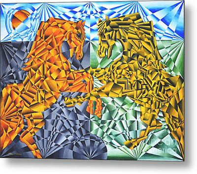 Metal Print featuring the painting Horses Of A Different Color by Joseph J Stevens