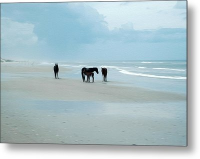 Metal Print featuring the digital art Horses Of The Obx by Kelvin Booker